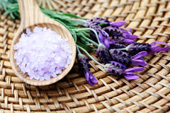 Lavender bath salt Royalty Free Stock Photo