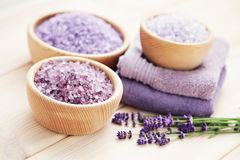 Lavender bath salt Royalty Free Stock Images