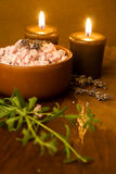 Lavender bath salt and candles. Stock Photo