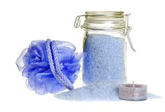 Lavender  bath salt focus on jar Royalty Free Stock Photography