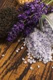 Lavender bath salt. And some fresh lavender stock photo
