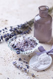 Lavender Bath Salt with Lavender Flowers Stock Photos