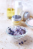 Lavender Bath Salt with Lavender Flowers Royalty Free Stock Photos