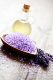 Lavender bath salt and massage oil Stock Image