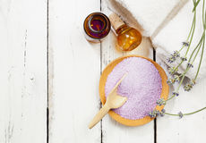 Lavender bath salt and oil Royalty Free Stock Photos