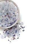 Lavender bath salt over white Royalty Free Stock Photos