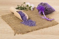 Lavender bath salt. Royalty Free Stock Photography