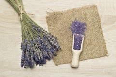 Lavender bath salt. Royalty Free Stock Photos