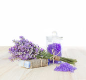 Lavender bath salt and soap. Royalty Free Stock Photos
