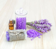 Lavender bath salt and soap. Stock Photography