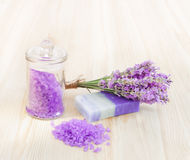 Lavender bath salt and soap. Royalty Free Stock Photo
