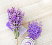 Lavender bath salt and soap. Stock Photos