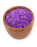 Lavender bath salt in a wooden bowl Royalty Free Stock Photography