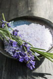 Lavender bath salts in dish Stock Photo