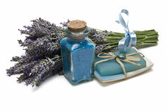 Lavender bath salts and soap. Royalty Free Stock Image
