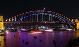 Lavender Bay and Sydney Harbour Bridge during Vivid Sydney. NTH SYDNEY, AUSTRALIA - JUNE 6, 2015;  Views across Lavender Bay, Sydney Harbour to our iconic Sydney Royalty Free Stock Photos