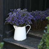 Lavender in a beautiful vase costs on an old steps near the bla Royalty Free Stock Photos