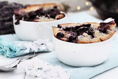 Lavender Blueberry Cobbler. Two bowls of freshly baked homemade blueberry lavender cobbler. Selective focus on dish in foreground with extreme shallow depth of royalty free stock photos