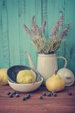Lavender, blueberry and pear Stock Images
