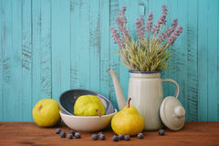 Lavender, blueberry and pear Royalty Free Stock Images