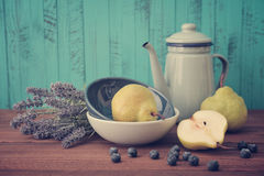 Lavender, blueberry and pear Royalty Free Stock Photos