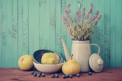 Lavender, blueberry and pear Stock Photography