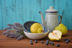 Lavender, blueberry and pear Stock Photos