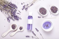 Lavender body care products. Aromatherapy and natural healthcare concept. Lavender body care products. Aromatherapy, spa and natural healthcare concept. Mockup stock photo