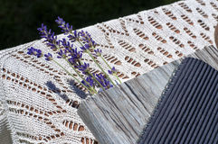 Lavender is a bookmark. Lavender is a bookmark in book Royalty Free Stock Image