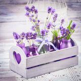 Lavender in bottles decor Royalty Free Stock Image