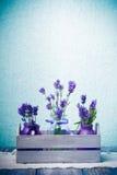 Lavender in bottles decor Stock Photo