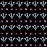 Lavender Bouquet-Love in Parise Seamless Repeat Pattern in Light Pink and Blue With Black Background . royalty free illustration