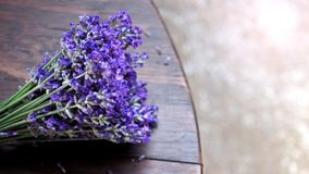 Lavender bouquet on wood table royalty free stock photo