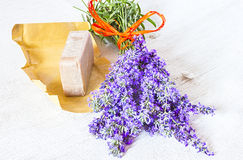 Lavender and brown soap Royalty Free Stock Photos