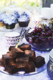 Lavender brownies - summer picnic Royalty Free Stock Images