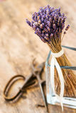 Lavender bunch bound, secateurs beside him. Stock Photos