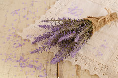 Lavender bunch and lavender bath salt Royalty Free Stock Photography