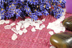 Lavender bunch and salt Royalty Free Stock Image
