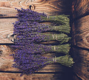 Lavender bunch on wood background Royalty Free Stock Photo