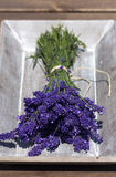Lavender bunch in wooden bowl Royalty Free Stock Photography