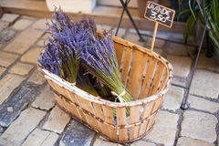 Lavender bunches selling in an outdoor french market Royalty Free Stock Photos