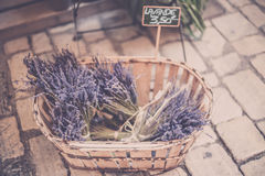 Lavender bunches selling in an outdoor french market Royalty Free Stock Images