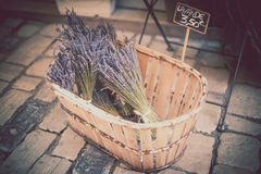 Lavender bunches selling in an outdoor french market. Stock Photos