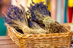 Lavender bunches selling in an outdoor french market Royalty Free Stock Photo