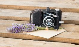 Lavender and camera. Royalty Free Stock Photos
