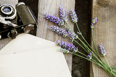 Lavender and camera. Royalty Free Stock Photography