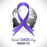 Lavender cancer ribbon with Earth globe Stock Image
