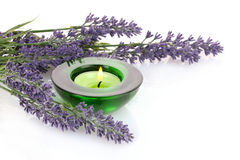 Lavender and candle royalty free stock photo