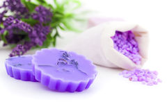 Lavender candle and bath salt Royalty Free Stock Photos