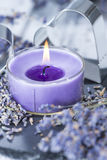 Lavender Candle Royalty Free Stock Photography